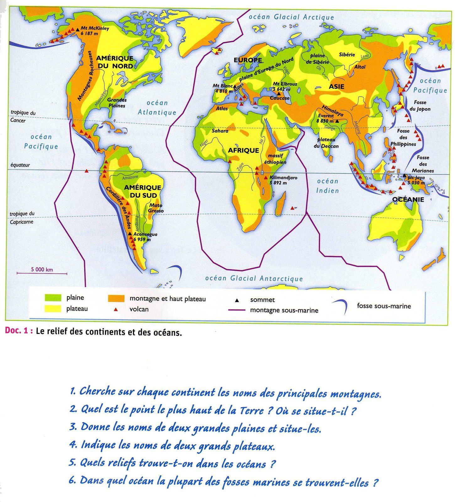 Le relief du monde carte en couleur le blog de la for Classe climatique d un congelateur