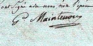 """Signature """"de Maintenon"""" sur un document du XIX°siècle à Portiragnes  aux  AD 34"""