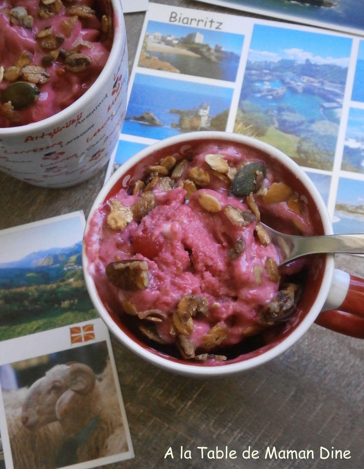 Frozen Yogurt fruité, végétalien &amp&#x3B; croustillant .... de retour d'Euskadi