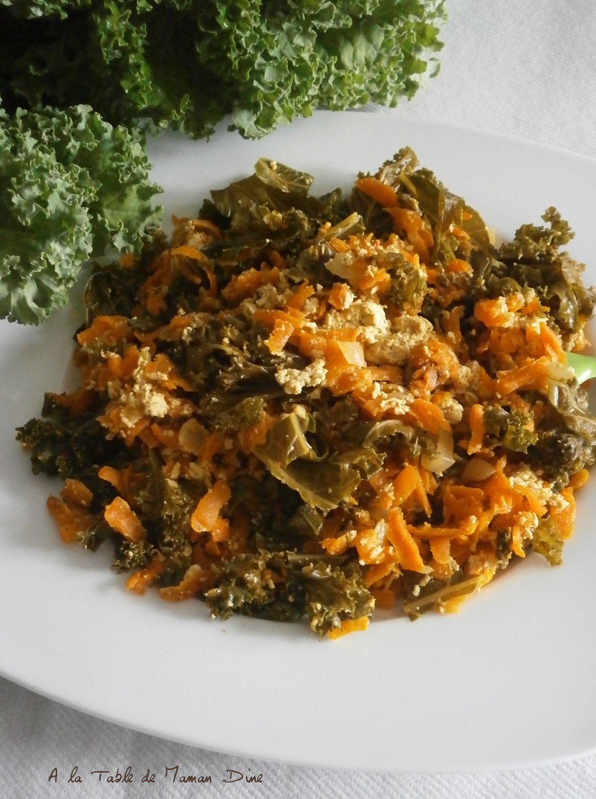 Poêlée de Kale, carottes et orties au tofu curry ~ recette végane ~
