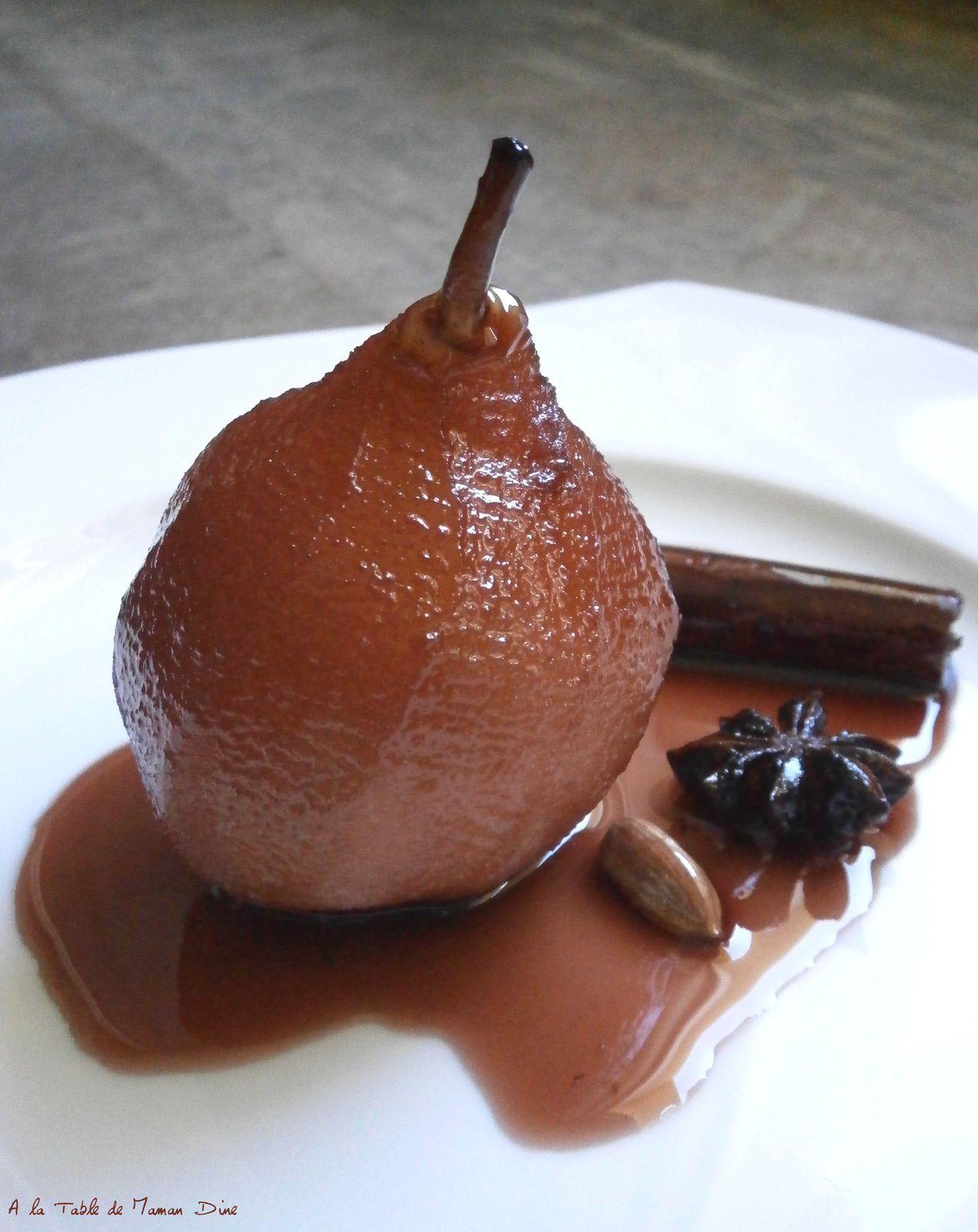 Poire pochée au jus de raisins épicé ~ recette végane ~