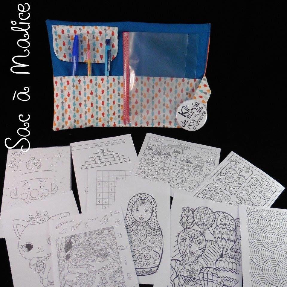 Kit de survie pour salle d'attente, vendu garni d'un stylo, un criterium et un crayon multi-couleurs + 10 jeux et coloriages. 25€