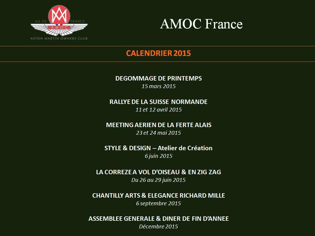 Calendrier prévisionnel 2015