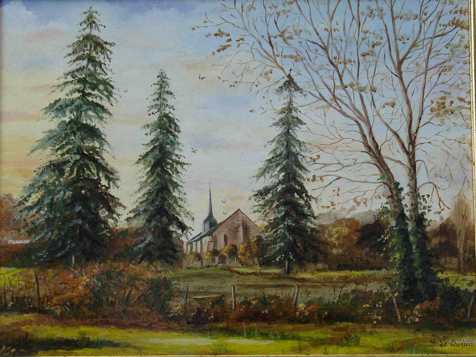 La chapelle de Fréligné en Vendée, huile sur toile