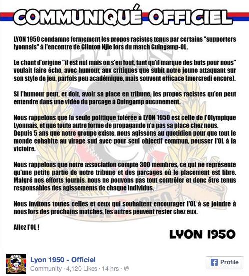 Lyon : foot et comportement raciste
