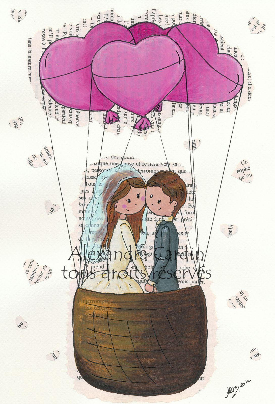 carte livre mariage montgolfière