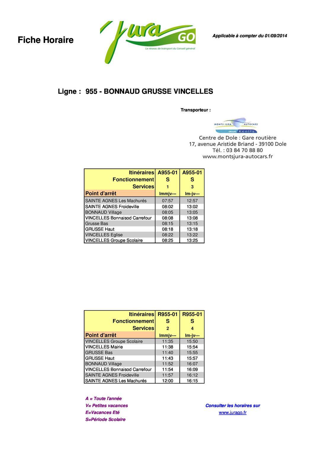 Horaires Transports scolaires à compter du 01/09/2014