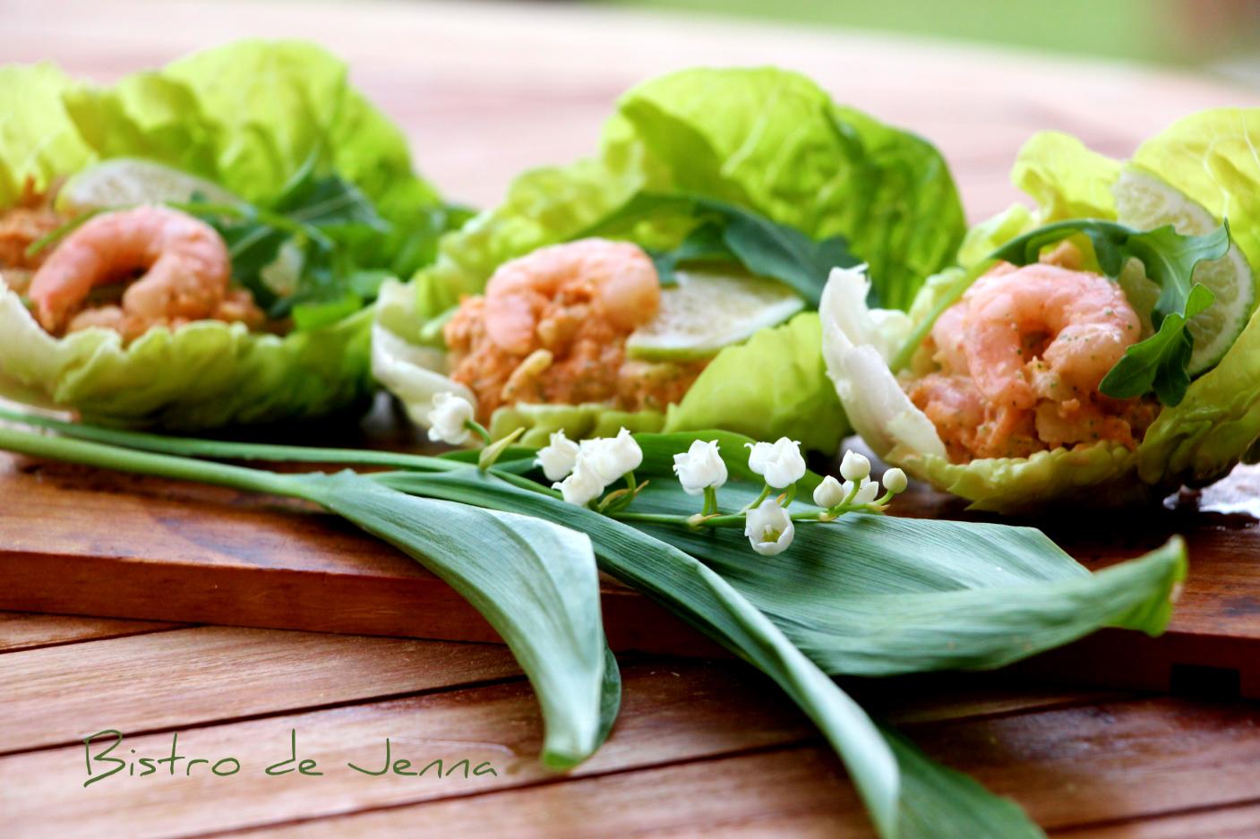 Barquettes de crevettes, sauce pamplemousse-Lodeczki z salaty z krewetkami z sosem z grejfruta