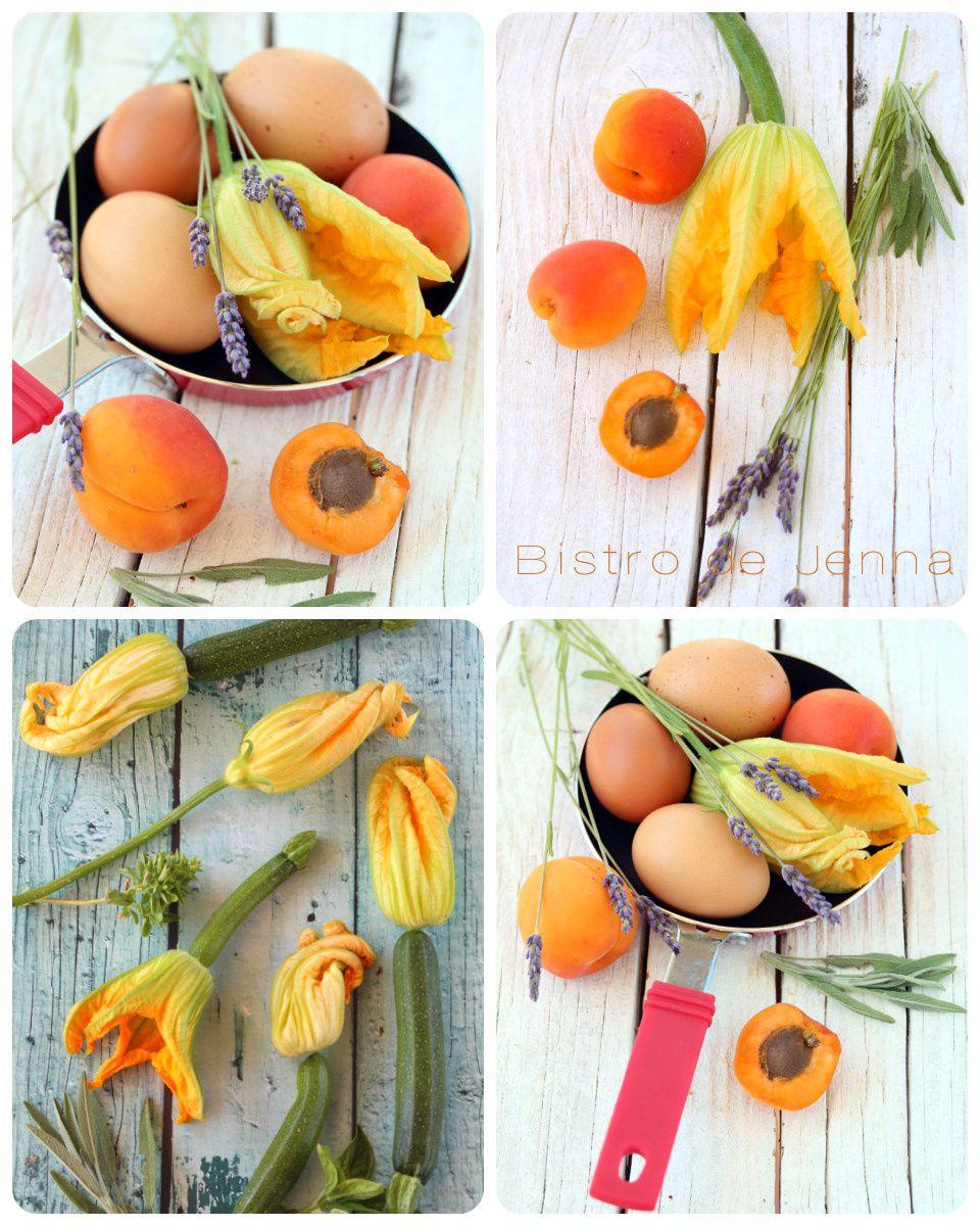 Omelette aux fleurs de courgette et feuilles de sauge fraiche - Brochette de demi-abricot au miel de la lavande