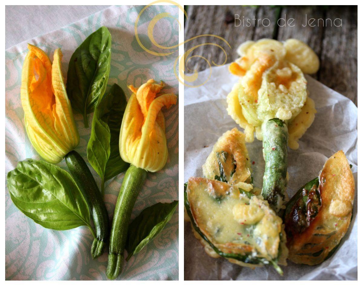 Tempura de fleurs de courgettes et feuilles de basilic