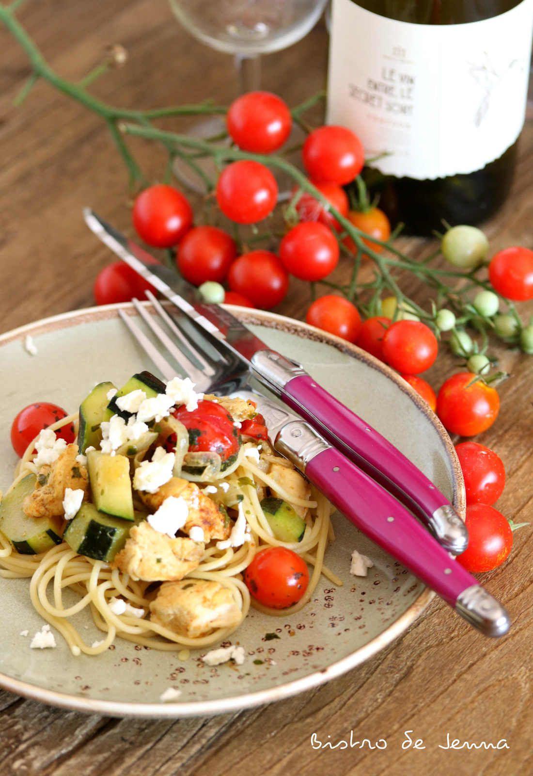 Poulet épicé et spaghettis au wok