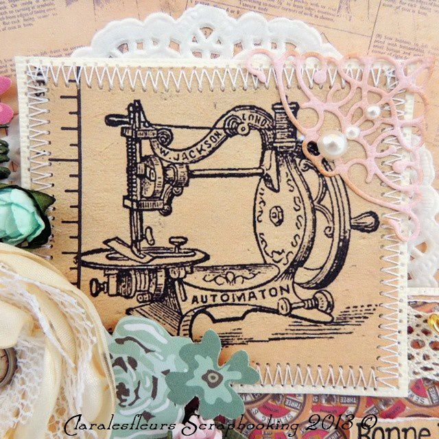 DT Art du Scrapbooking...  Carte avec le kit Needle and Thread pour le défi de la semaine