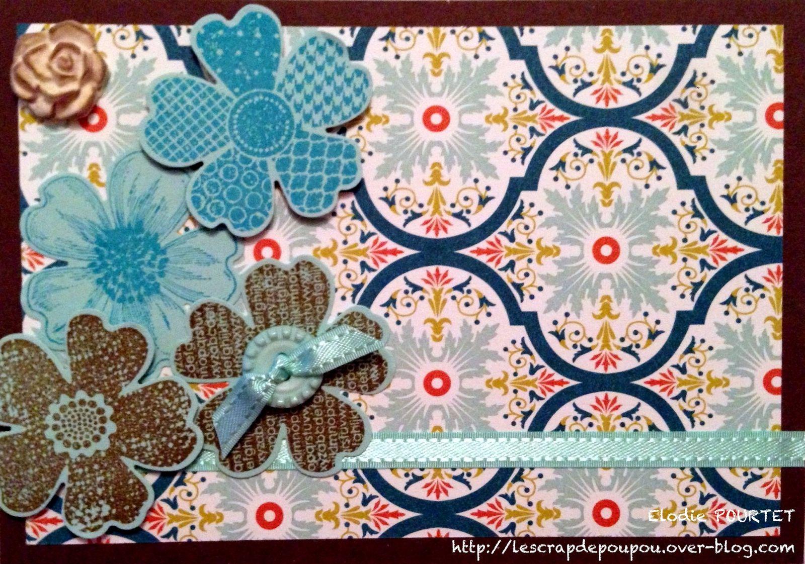"""Papier """"pépite de chocolat"""" et """"piscine party"""", papier design de la série """"SAB 2013"""", set de tampons """"Flower Shop"""" avec perforatrice """"Pensée"""", encreurs """"doux suède"""" et """"turquoise tentation"""", ruban et bouton couleur """"Piscine party"""" collection """"SAB 2013"""", papier argile"""