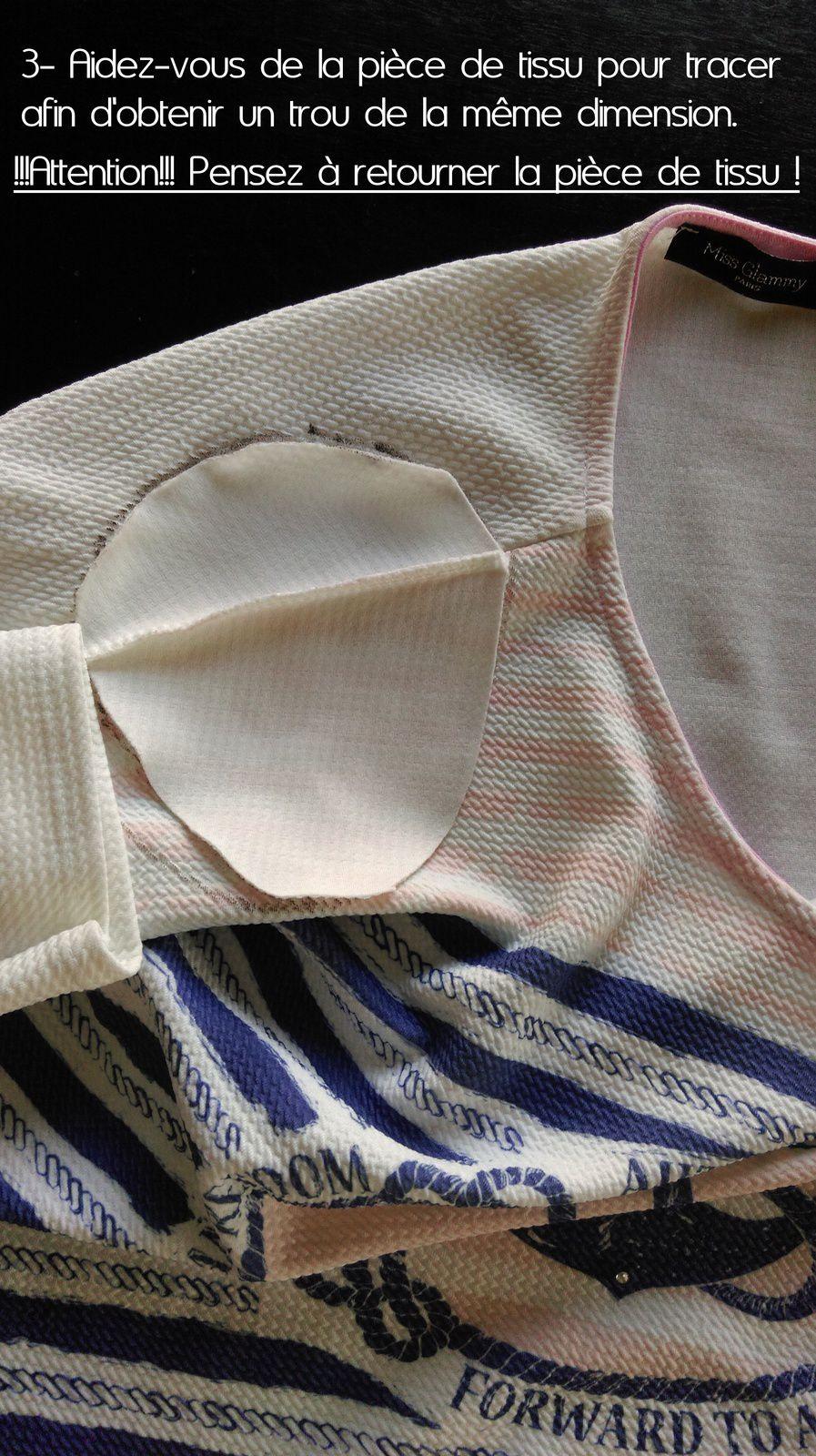 Une fois le découpage terminé, faîtes un ou 2 points de couture à l'aide d'une aiguille et de fils afin d'arrêter la couture que vous avez coupé, cela évitera qu'elle se découd