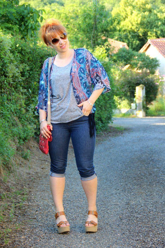 #pantacourt jean et kimono