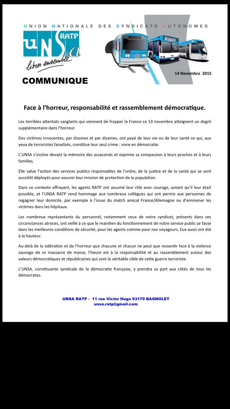 Face à la barbarie, l'UNSA RATP réagit avec détermination