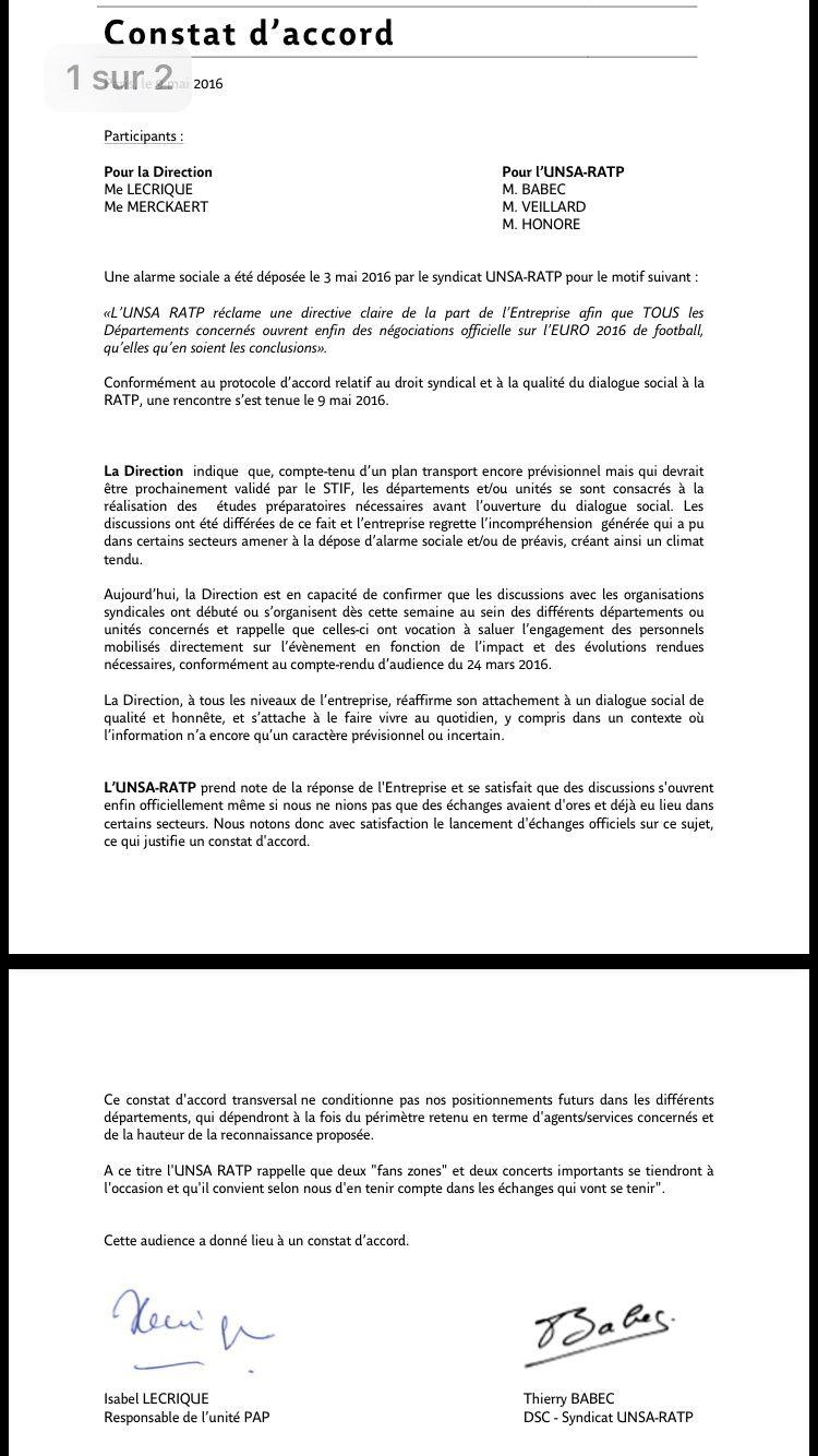 Euro de foot : UNSA RATP obtient des échanges sur le sujet