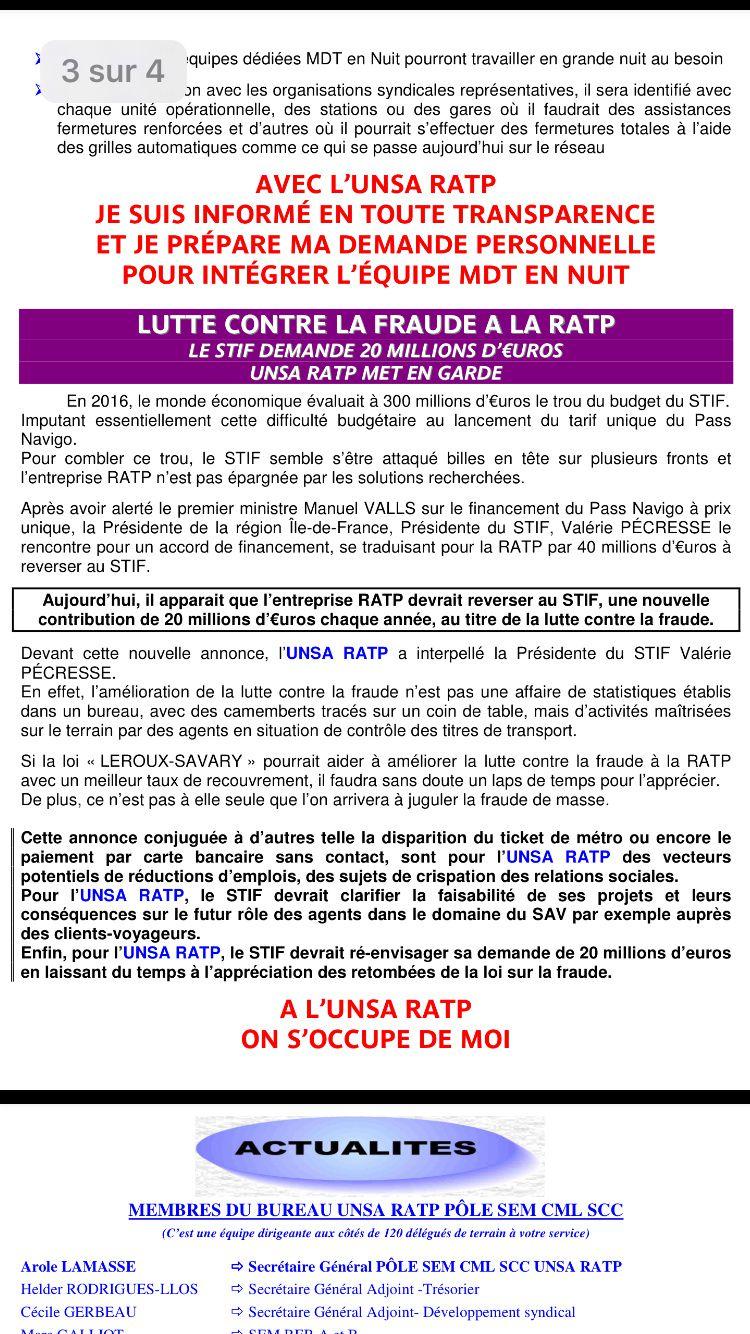 UNSA RATP obtient le maintien minimum de 1780 € de primes pour les 3 ans à venir