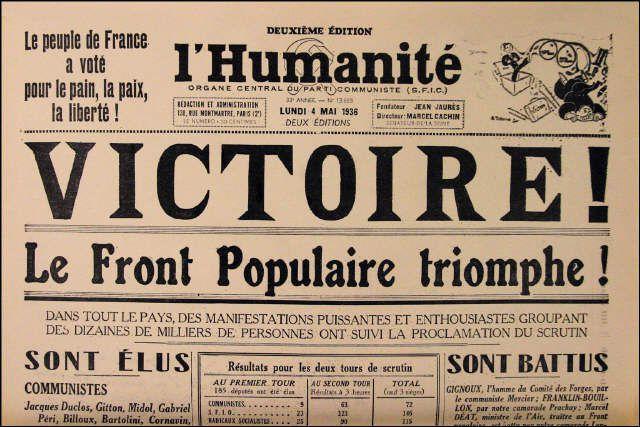 """""""Une"""" du quotidien français """"L'Humanité"""", le 4 mai 1936. Le Front populaire arrive au pouvoir en 1936, porté par le slogan """"pain, paix, liberté""""."""