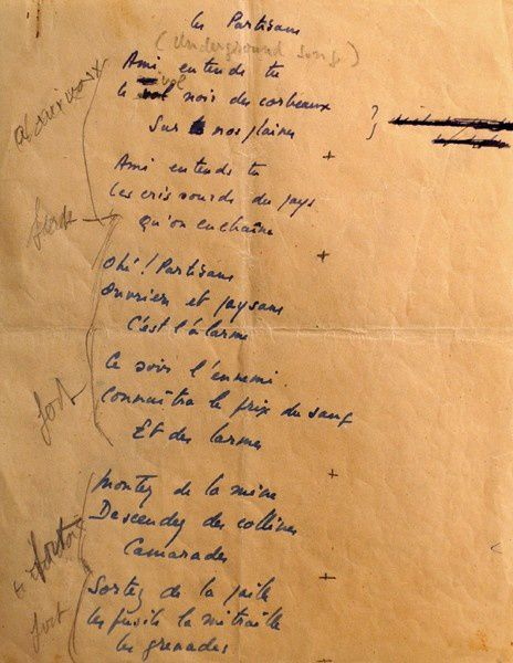 "Manuscrit original du ""Chant des Partisans"""