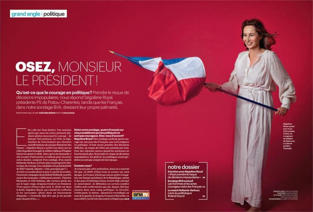 """La présidente PS de la région Poitou-Charente, Ségolène Royale, pose pour le journal Le Parisien en Marianne, inspirée de """"la liberté guidant le peuple"""" (2013)"""