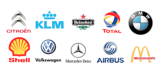 Les logos de Citroën, KLM, Heineken, Total, BMW, Shell, Volkswagen, Mercedes, Airbus et... Mc Donald's, seule firme non européenne