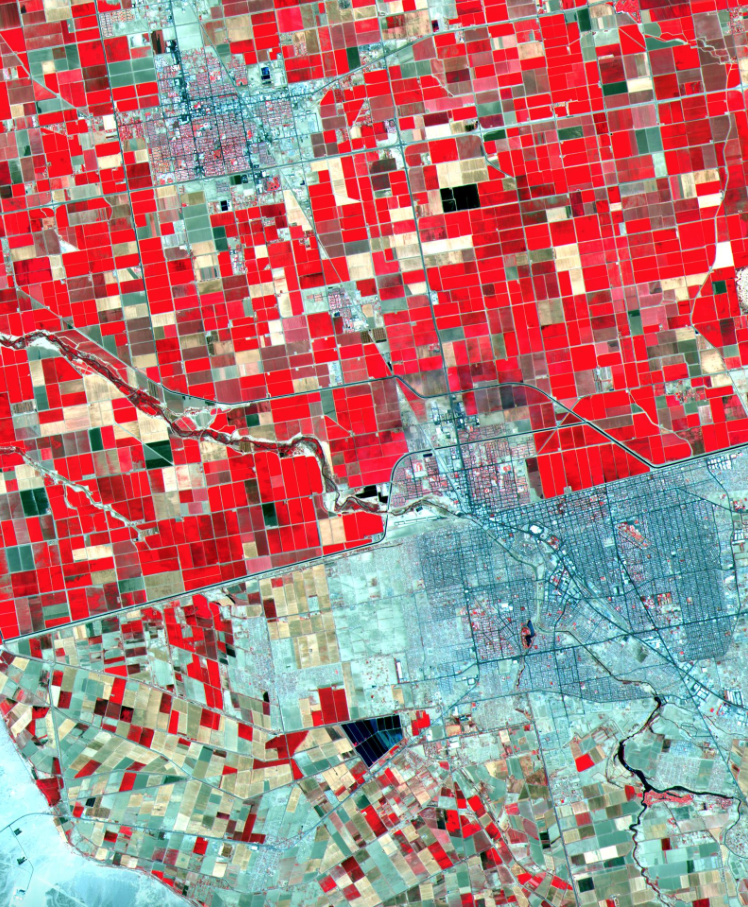 US-Mexico Border. Image acquise le 19 mai 2000 et couvre une superficie de 24 par 30 km.