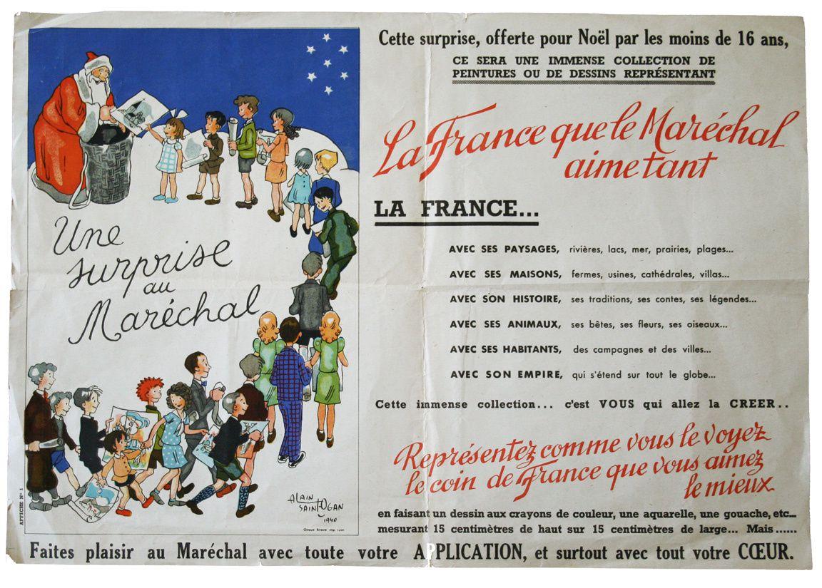 Surprise organisée par les enfants de moins de 16 ans au Maréchal Pétain pour Noël (1940). Tous les enfants sont sollicités pour adresser leurs plus beaux dessins au chef de l'Etat.