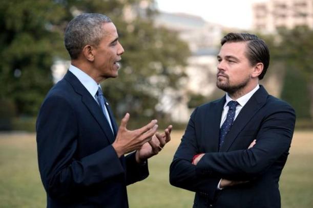 Le président des Etats-Unis d'Amérique, Barack Obama et Leonardo DiCaprio