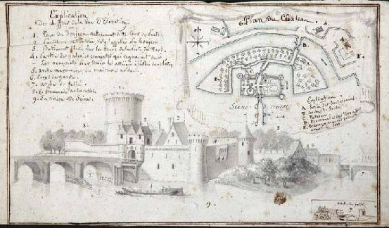 Vue d'élévation & plan du château de Limaie. Avant 1782. Un feuillet de papier (210 x 125 mm), lavis, aquarelle & encre. La garnison de ce fort posa bien des soucis aux marchands et à la paroisse Saint-Vigor de Pont-de-l'Arche.