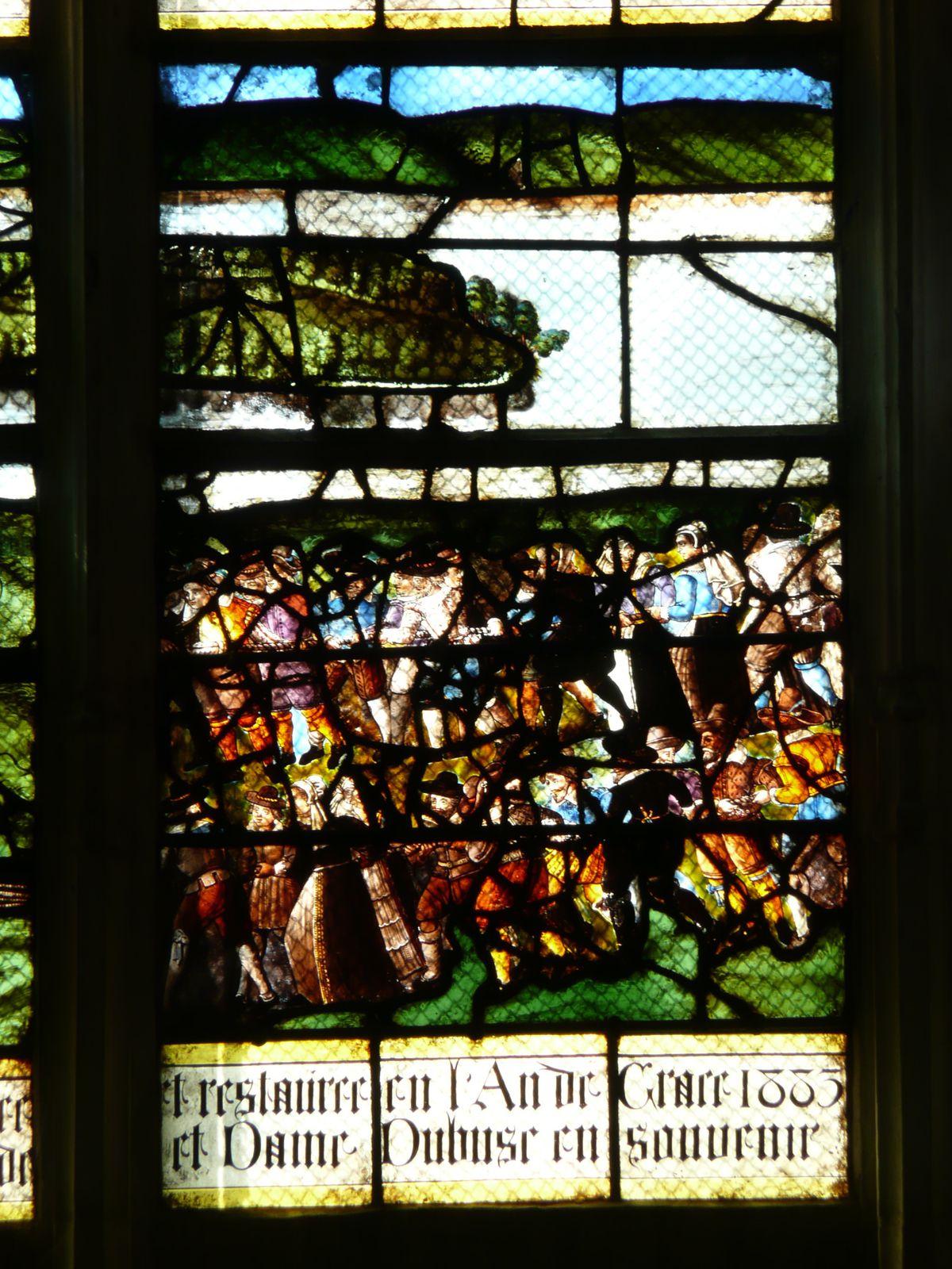 Monteurs et chevaux en action. Détail du vitrail (photo A. Launay, 2010)