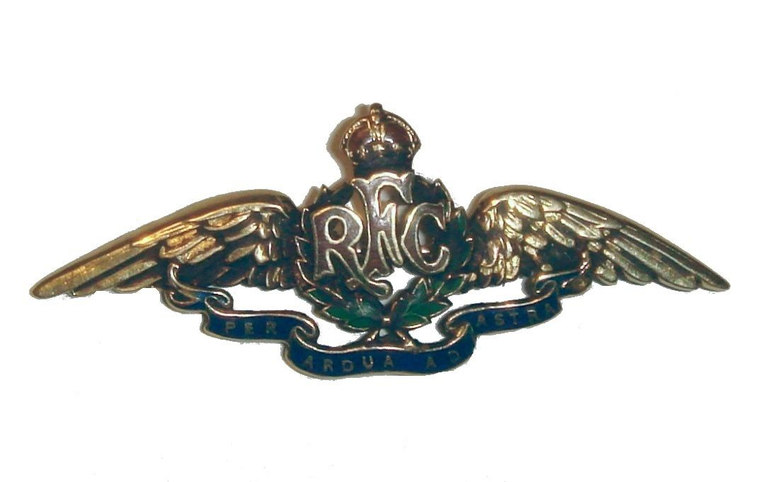 L'insigne du Royal flying corps, ancêtre de la Royal air force (Wikipédia).