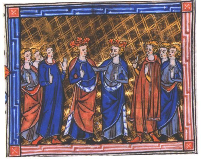 Philippe Auguste et Richard Coeur de Lion montrant leur amitié au début de la 3e croisade (1190-1191), Livre d'Eracle, Flandres, vers 1300 (BnF).