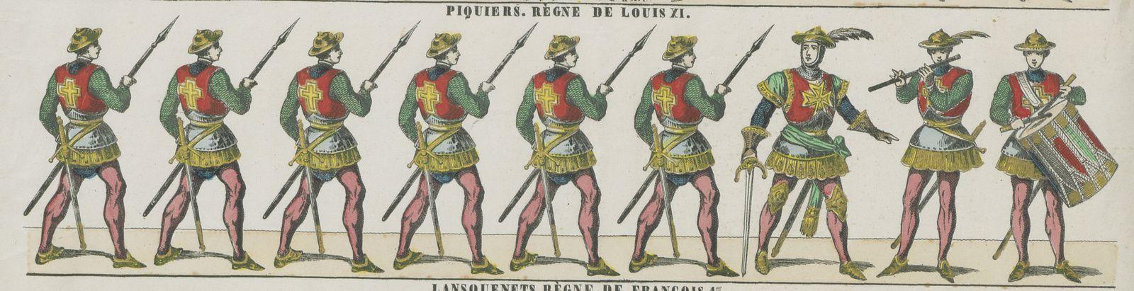 Les piquiers, nouveaux combattants mis en avant par Louis XI pour bâtir une infanterie régulière. Détail de « Troupes anciennes. N°3, Coustilliers, Règne de Charles VII - Piquiers, Règne de Louis XI », gravure sur bois en couleurs (46 x 36 cm) éditée chez Pellerin, Épinal, 1859. BnF, département Estampes et photographie, FOL-LI-59 (6).