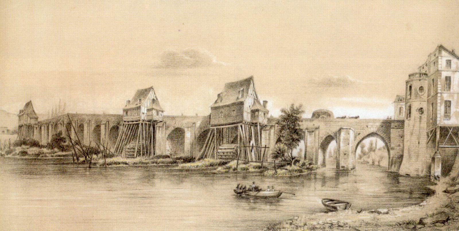 La porte de Rouen, à droite du pont, était défendue par deux tours en «u». Une d'entre elles apparait sur ce dessin réalisé vers 1840 par Edouard Lanon (musée de Louviers). Elle a été percée de grandes ouvertures et par des œils-de-bœuf. Elle sert d'appui à un vaste logis qui la dépasse et qui prend aussi appui sur une colonne plantée dans la Seine.
