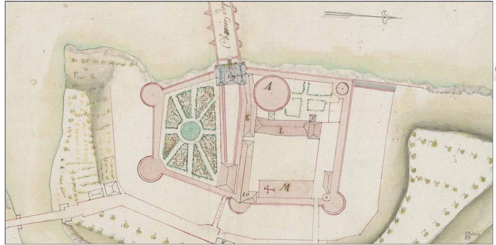 « Plan du château du Pont de l'Arche pour servir au projet de l'année 1754 ». Ce plan aquarellé (41 x 54 cm), est conservé à la Bibliothèque nationale de France, département Arsenal, et accessible sur Internet : http://catalogue.bnf.fr/ark:/12148/cb421591410. Il confirme plutôt les vues de P. Petit et Jacques Gomboust.