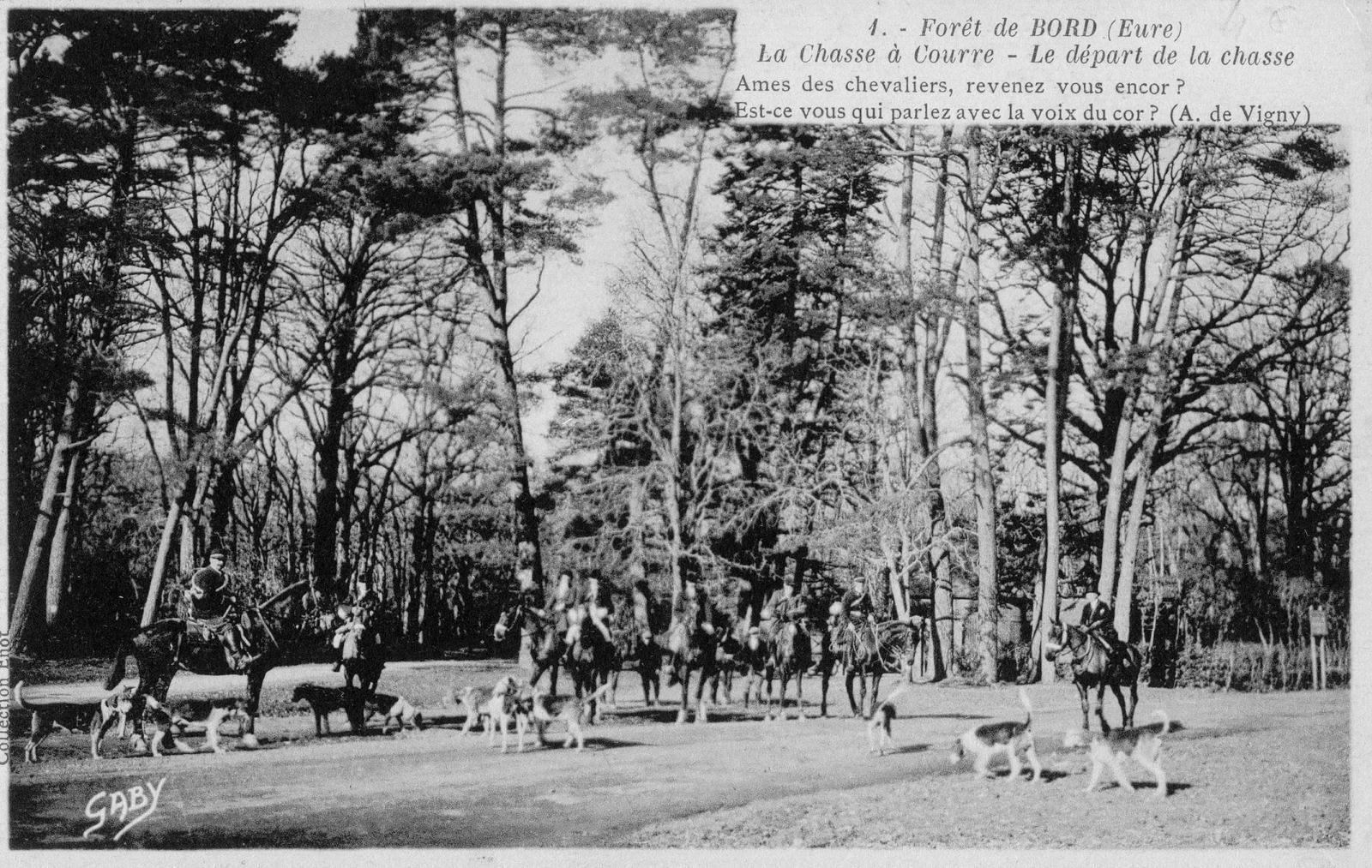 La chasse à courre en forêt de Bord représentée sur une carte postale.