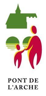 Adopté en 2008, le nouveau logo de Pont-de-l'Arche reprend des éléments d'histoire (pont disparu), de patrimoine (église Notre-Dame et tour de Crosne) avec la mise en avant des notions d'éducation et de solidarité.