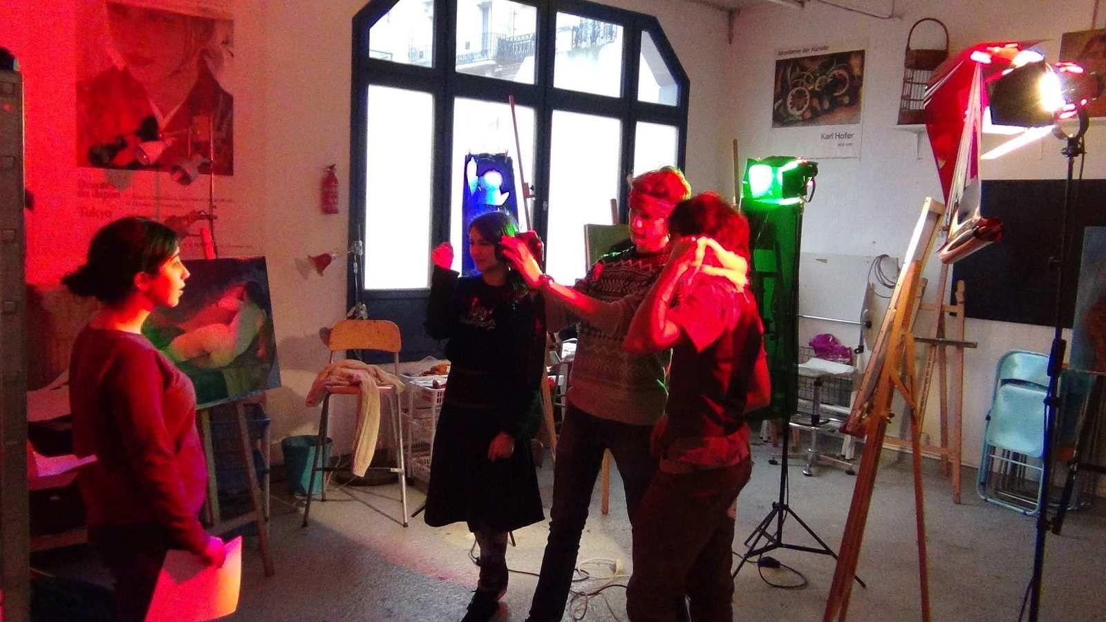 Hajar, Delphine, Clément & Pierre, en tournage à la prépa.