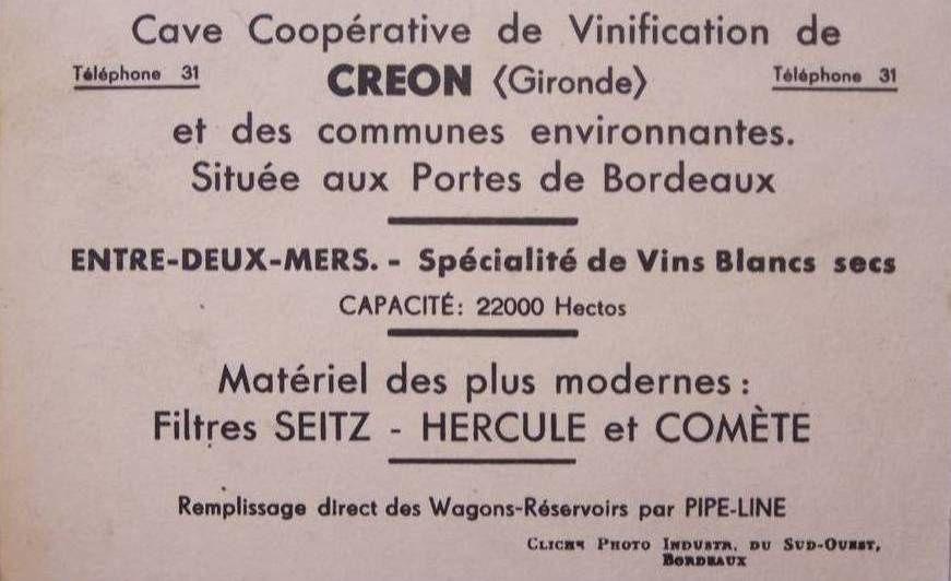 CREON (Gironde) : La cave coopérative .