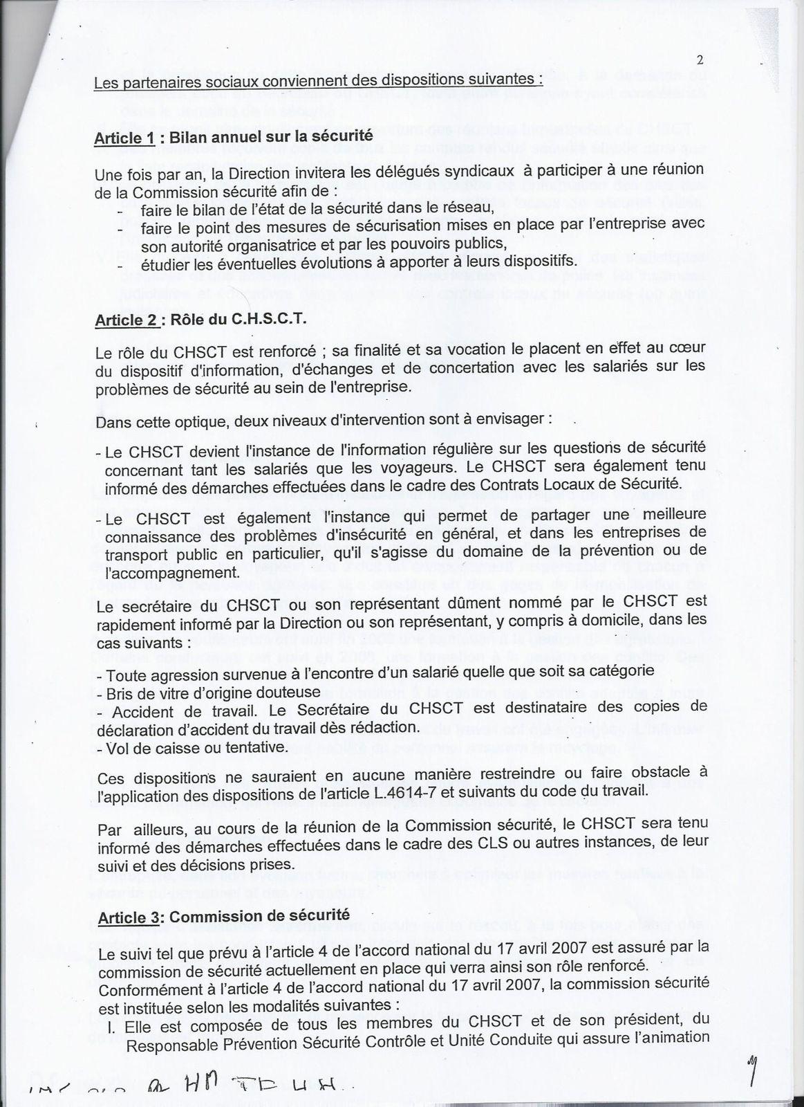 ACCORD RELATIF À LA SÉCURITÉ DES PERSONNES ET DES BIENS