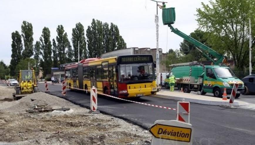 Travaux au terminus de bus rue des Jonquilles à Illzach