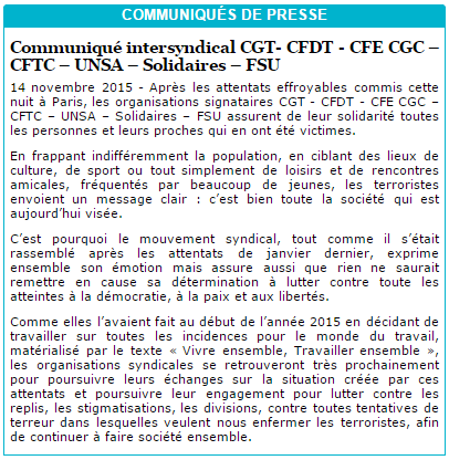 Communiqué de presse intersyndical CGT- CFDT - CFE CGC – CFTC – UNSA – Solidaires – FSU