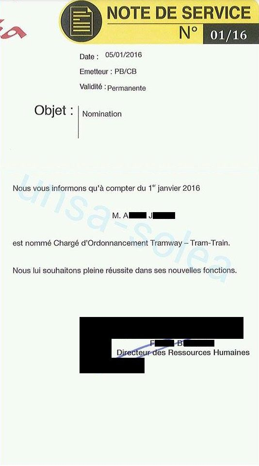 Note de Service 1/16 - Nomination
