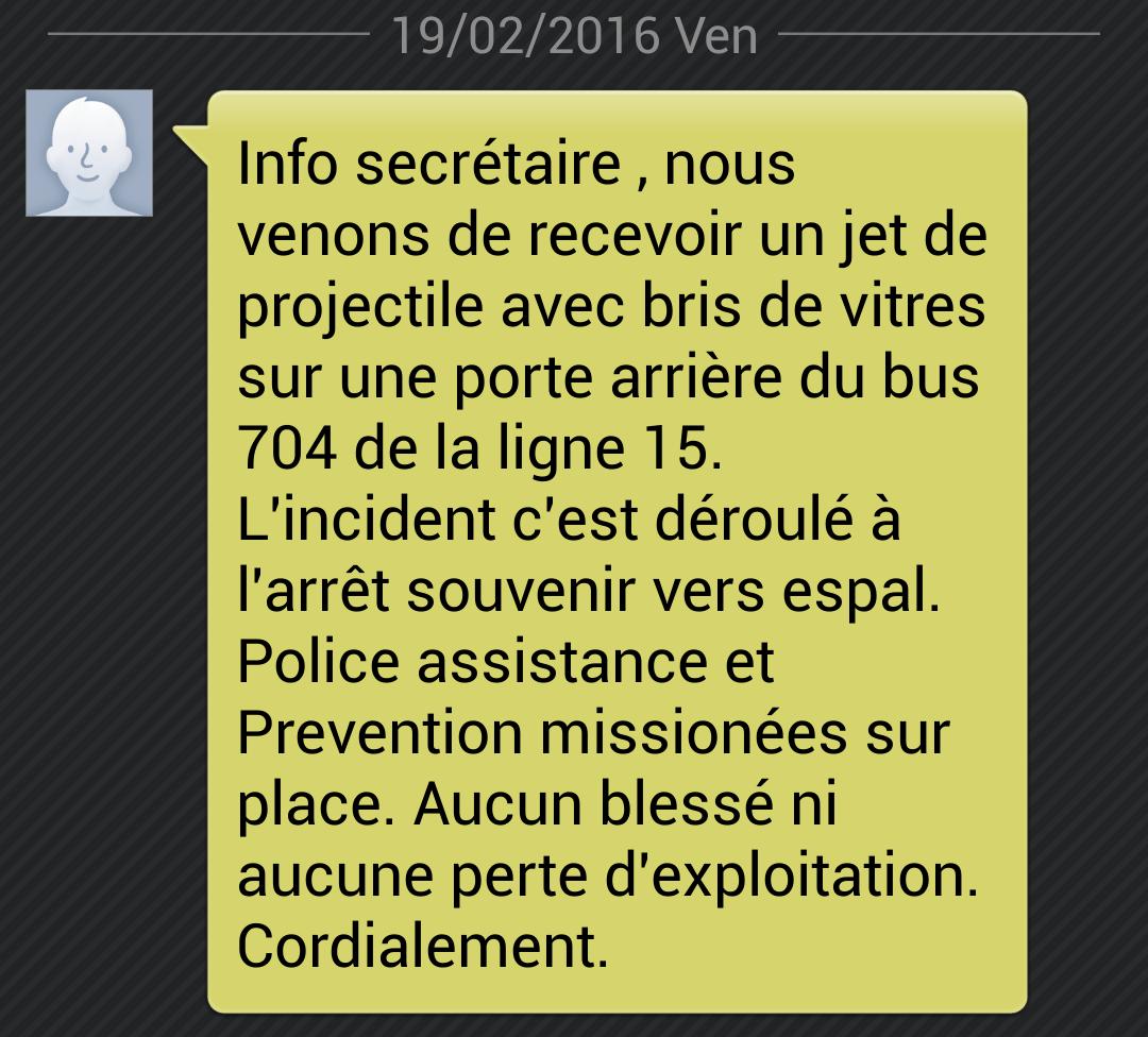 Incident Ligne 15 - Vendredi 19 Février 2016