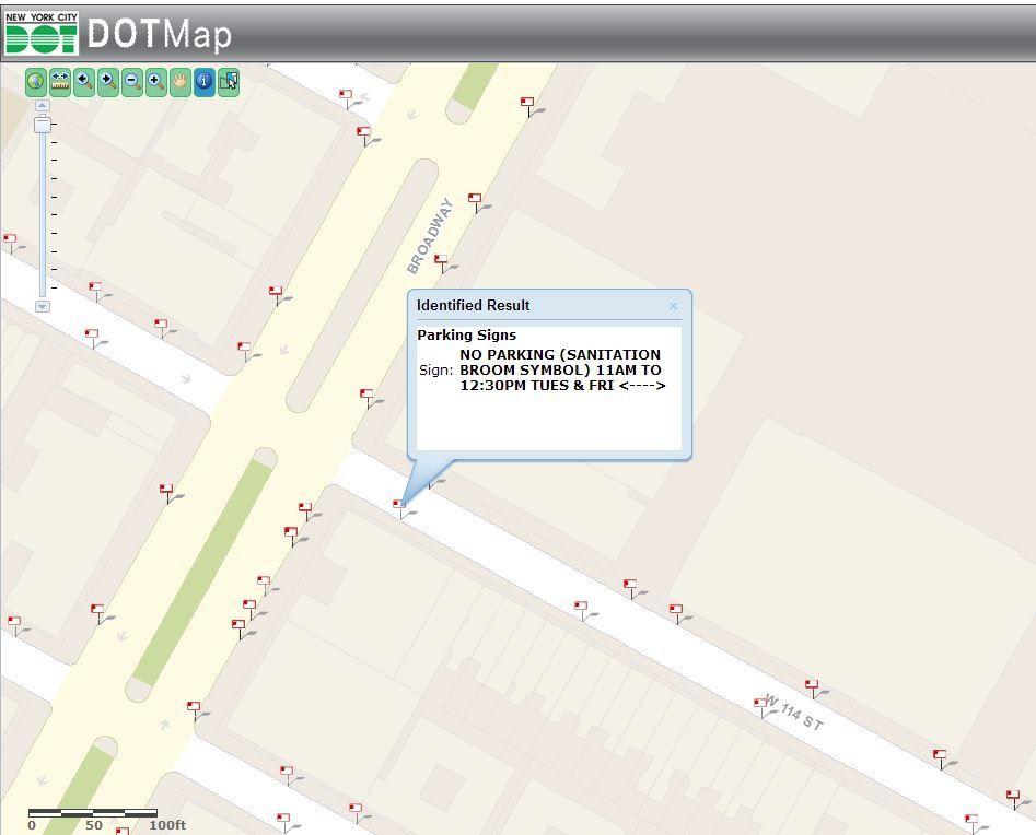Exemple ici, on ne peut pas se garer sur 114th street (coté sud) entre 11h et 12h30 les Mardis et Jeudis.