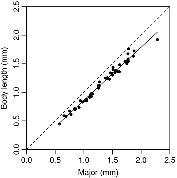 Relationship between the M values obtained from the image analysis and body length measured manually.