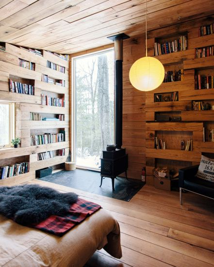 Cosy library and guest house by Studio Padron