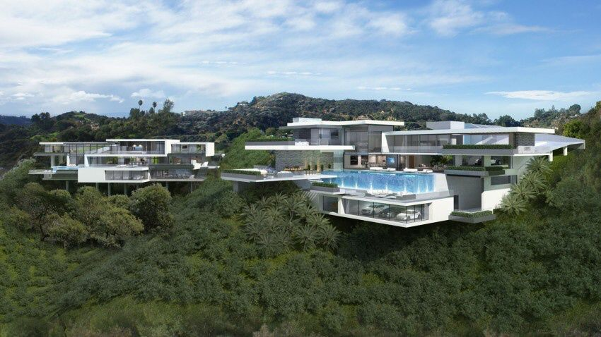 Los Angeles, two proposed modern mega mansions.