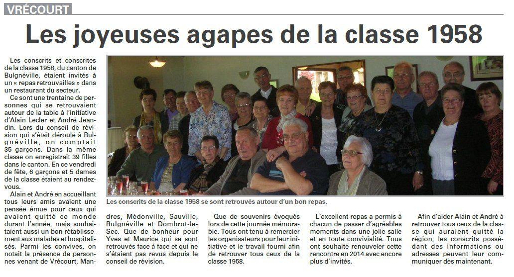 Vrécourt : les joyeuses agapes de la classe 1958 (Vosges Matin)